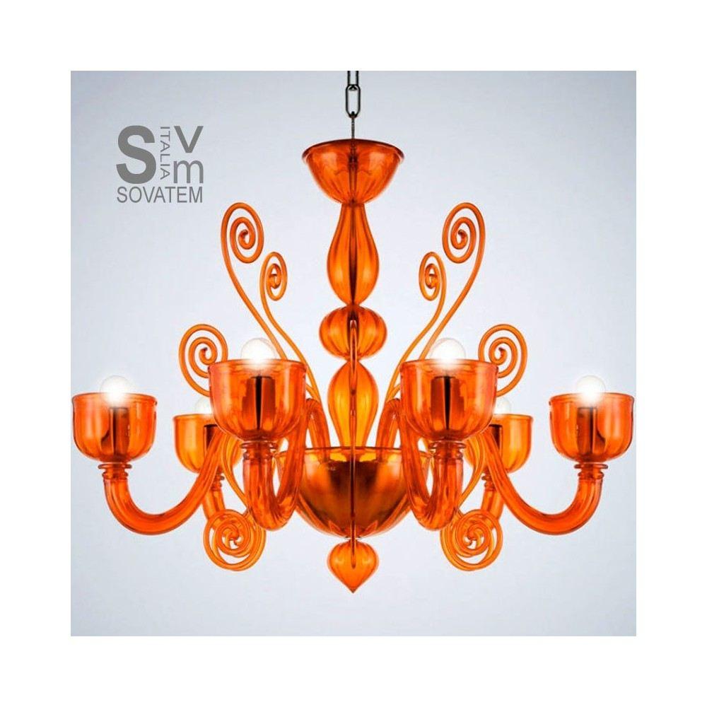Lampadario La Murrina 6 luci Glamour S6 arancio