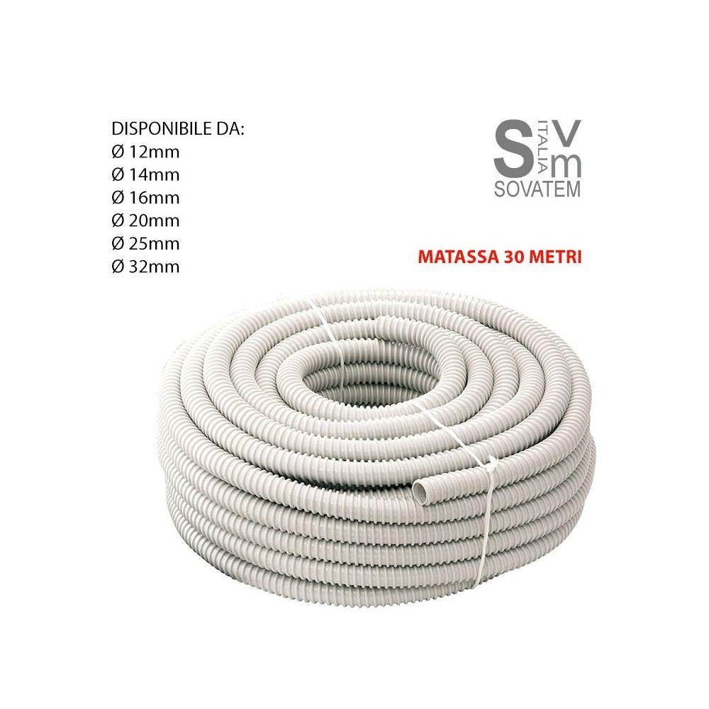 10 MT GUAINA SPIRALATA FLESSIBILE 16 MM PVC GRIGIA TUBO IMPIANTI ELETTRICI