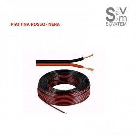 CAVO AUDIO PIATTINA ROSSO/NERO PER CASSE AUDIO CASA AUTO 2X0,75 - 2X1mm AL METRO PIATTINA-R-SSOVATEM