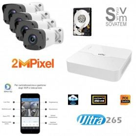 KIT VIDEOSORVEGLIANZA TVCC IP CAMERE 2MP H265 NVR 4IN APP MOBILE HARD DISK 500GB ELUNEASYKIT23EUROTEK