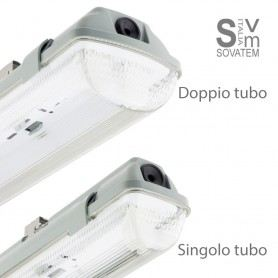 PLAFONIERA STAGNA DA 1/2 NEON LED TUBO T8 G13 60-120-150 CM 220V SOFFITTO IP65 MCE26000SOVATEM
