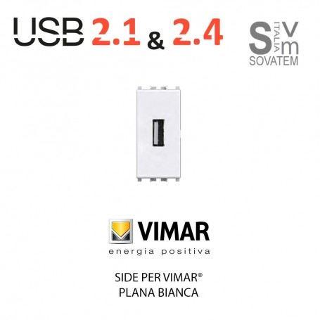 PRESA USB 2.1A 4BOX 1 MODULO COMPATIBILE CON BTICINO LIVING-MATIX E VIMAR PLANA 4BOX-USB-1M4BOX