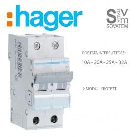INTERRUTTORE MAGNETOTERMICO HAGER SERIE MYN 2P 2 POLI DA 10-16-20-25-32A 4,5Ka HAGMYN2000HAGER