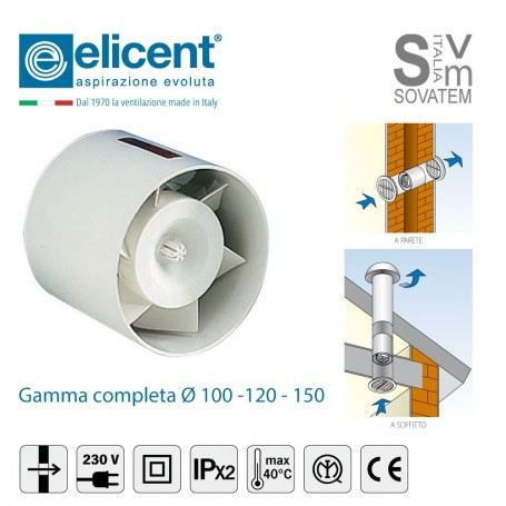 ASPIRATORE ELICOIDALE DA INCASSO ELICENT SERIE TUBO DIAMETRO Ø 100-120-150mm ASPIRATORE-TUBOELICENT