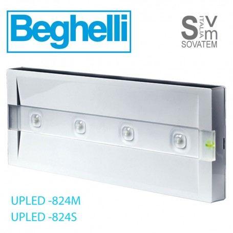 LAMPADA DI EMERGENZA LED BEGHELLI 824M-824S-824L PARETE IP40 DURATA DA 1,5h-2h UPLED824BEGHELLI