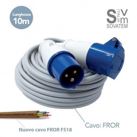 PROLUNGA 10 MT CON PRESA E SPINA IEC 3 POLI 16A CAMPER CAMPEGGIO CANTIERE IP44 FROR10MT-318.1643-1633SCAME