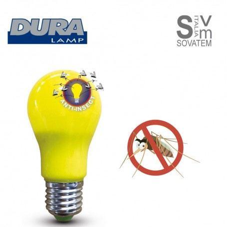 LAMPADA LED E27 ANTI INSETTI 220V 7W LED TECNOLOGIA SMD TEMPERATURA COLORE 1700K LA60AIDURALAMP