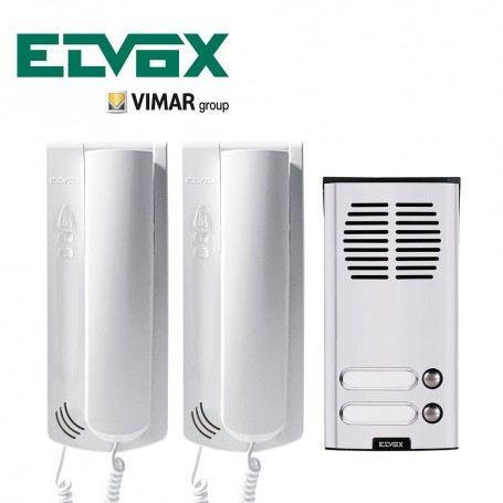 KIT CITOFONICO VIMAR K62K0.02 BIFAMILIARE SOUND SYSTEM CORNETTA 62K0 + 930G K62K0.02ELVOX