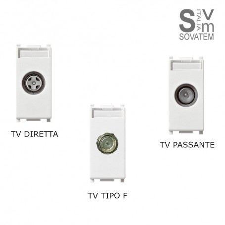 PRESA TV COASSIALE DIRETTA CONNETTORE MASCHIO O PASSANTE O TIPO F VIMAR PLANA TV DIRETTA-PASSANTE-F-PLANAVIMAR