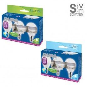 LAMPADINA LED E14 TRIPACK SFERA 5,7W LUCE 4000K O 6000K 230W A+ KIT DA TRE PEZZI CP57C-N-3DURALAMP